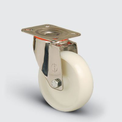 EMES - SSEM01ZKZ150 Paslanmaz Döner Tablalı Poliamid Tekerlek Çap:150 Inox Hafif Sanayi Tekerleği Burçlu Oynak Tabla Bağlantılı