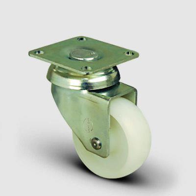 EMES - EP01ZKZ50 Döner Tablalı Poliamid Tekerlek Çap:50 Hafif Sanayi Tekerleği,Oynak Tabla Bağlantılı, Burçlu