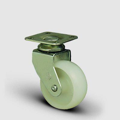 EMES - EB01ZKZ50 Döner Tablalı Poliamid Tekerlek Çap:50 Mobilya Tekerleği, Oynak Tabla Bağlantılı, Burçlu Sehpa Tekeri
