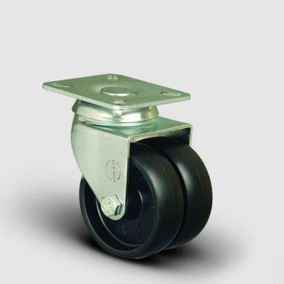 EMES - ET01MKM75 Oynak Tablalı Çiftli Moblen Tekerlek Çap:75 Sanayi Tekerleği Burçlu Oynak Tabla Bağlantılı Polipropilen İkili Teker