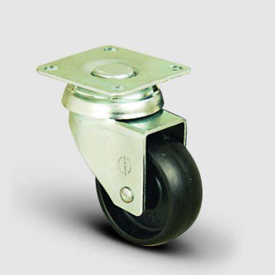 EMES - EP01MKM75 Döner Tablalı Polipropilen Tekerlek Çap:75 Hafif Sanayi Tekerleği,Oynak Tabla Bağlantılı, Burçlu