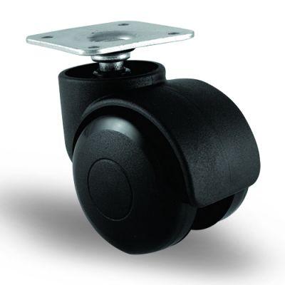 EMES - EC01GMKM50 Döner Tablalı Plastik Mobilya Tekerleği Çap:50 Oynak Tabla Bağlantılı, Geniş Tip, Burçlu Koltuk Tekeri