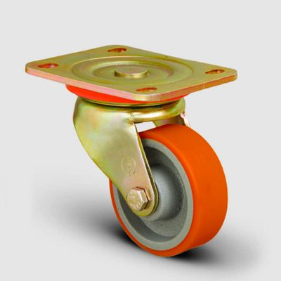 EMES - ED01VKP80 Döner Tablalı Döküm Üzeri Poliüretan Kaplı Tekerlek Çap:80 Ağır Sanayi Tekerleği Sarı Maşa Oynak Tabla Bağlantılı Burçlu