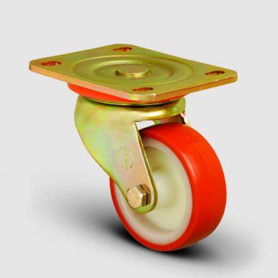 EMES - ED01ZKP80 Döner Tablalı Poliüretan Kaplı Tekerlek Çap:80 Ağır Sanayi Tekerleği Sarı Maşalı Oynak Tabla Bağlantılı Burçlu