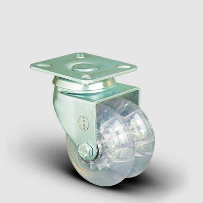 EMES - ET01DKP50 Oynak Tablalı Çiftli Şeffaf Tekerlek Çap:50 Sanayi Tekerleği Burçlu Oynak Tabla Bağlantılı Poliüretan Silikon İkili Teker