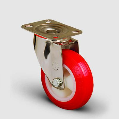 EMES - SSEM01ZKP125 Paslanmaz Döner Tablalı Poliüretan Tekerlek Çap:125 Inox Hafif Sanayi Tekerleği Burçlu Oynak Tabla Bağlantılı Poliamid Üzeri Poliüretan Kaplı