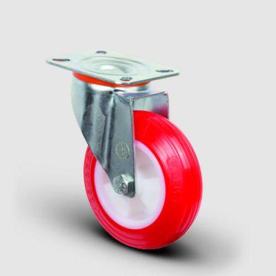EMES - EM01ZKP150 Döner Tablalı Poliüretan Tekerlek Çap:150 Hafif Sanayi Tekerleği Oynak Tabla Bağlantılı, Burçlu