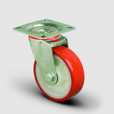 EMES - EK01ZKP100 Döner Tablalı Poliüretan Kaplı Tekerlek Çap:100 Orta Sanayi Tekerleği Oynak Tabla Bağlantılı Burçlu
