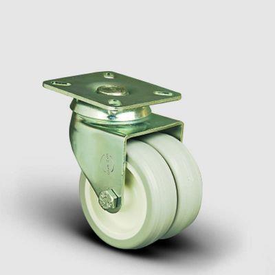 EMES - ET01ZKC50 Oynak Tablalı Çiftli PVC Tekerlek Çap:50 Sanayi Tekerleği Burçlu Oynak Tabla Bağlantılı Poliamid Üzeri PVC Kaplı İkili Teker
