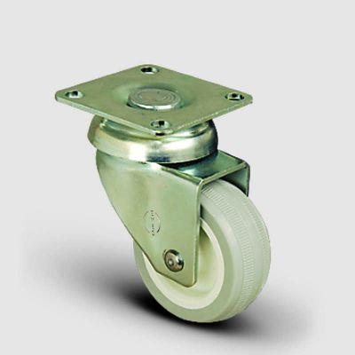 EMES - EP01ZKC50 Döner Tablalı Poliamid Üzeri PVC Tekerlek Çap:50 Hafif Sanayi Tekerleği, Oynak Tabla Bağlantılı, Burçlu