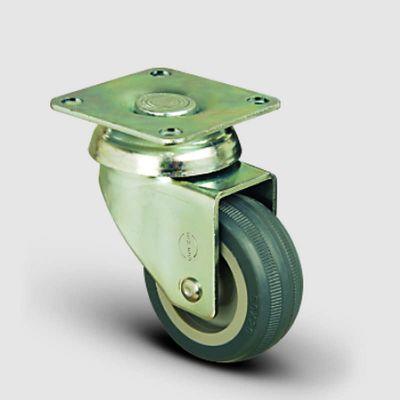EMES - EP01MKT100 Döner Tablalı Termoplastik Kauçuk Tekerlek Çap:100 Hafif Sanayi Tekerleği, Oynak Tabla Bağlantılı, Burçlu