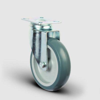EMES - ER01MKT80 Döner Tablalı Termoplastik Kauçuk Tekerlek Çap:80 Hafif Sanayi Tekerleği,Oynak Tabla Bağlantılı, Burçlu