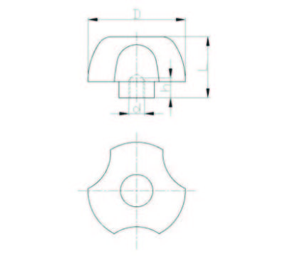 EMES - PYB6316 Plastik Yonca Burçlu Çap:40 M16 Somunlu