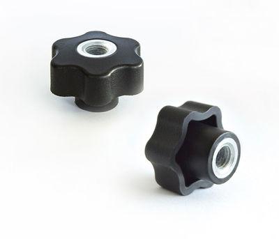 - PTB6D6312 Çap:63 M12 Dişi 6 Köşe Plastik Tutamak Burçlu Ortası Delik