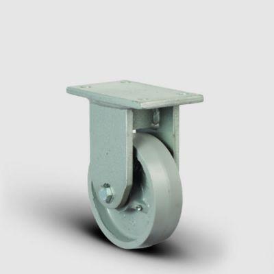 EMES - EH02VBV125 Sabit Maşalı Döküm Tekerlek Çap:125 Lama Çatılı Ağır Sanayi Tekerleği Kaynak Maşa Sabit Tabla Bağlantılı Bilya Rulmanlı