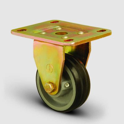 EMES - ED02VBR125 Sabit Maşalı Döküm Üzeri Kauçuk Kaplı Tekerlek Çap:125 Ağır Sanayi Tekerleği Sarı Maşa Sabit Tabla Bağlantılı Bilya Rulmanlı