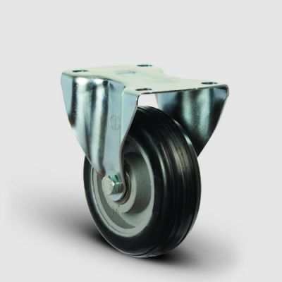 EMES - EX02VBR150 Sabit Maşalı Döküm Üzeri Kauçuk Kaplı Tekerlek Çap:150 Ağır Sanayi Tekerleği Geniş Maşa Sabit Tabla Bağlantılı Bilya Rulmanlı