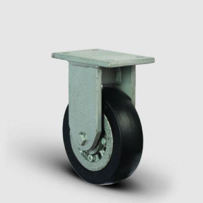 EMES - EH02VBR220 Sabit Maşalı Döküm Üzeri Kauçuk Kaplı Tekerlek Çap:220 Lama Çatılı Ağır Sanayi Tekerleği Kaynak Maşa Sabit Tabla Bağlantılı Bilya Rulmanlı
