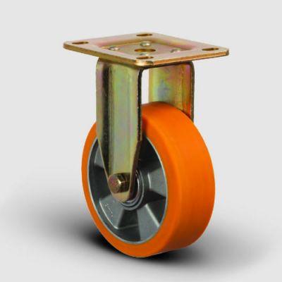 EMES - ED02ABP125 Sabit Maşalı Alüminyum Üzeri Poliüretan Kaplı Tekerlek Çap:125 Ağır Sanayi Tekerleği Sabit Tabla Bağlantılı Bilya Rulmanlı