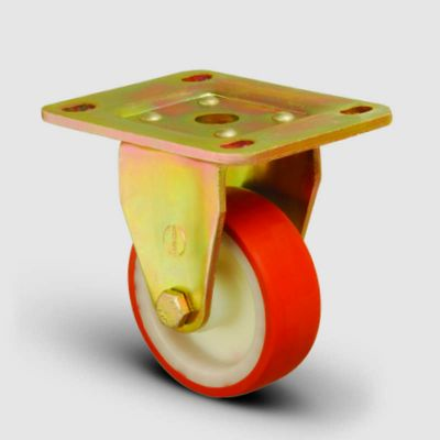 EMES - ED02ZBP150 Sabit Maşalı Poliüretan Kaplı Tekerlek Çap:150 Ağır Sanayi Tekerleği Sarı Maşalı Sabit Tabla Bağlantılı Bilya Rulmanlı