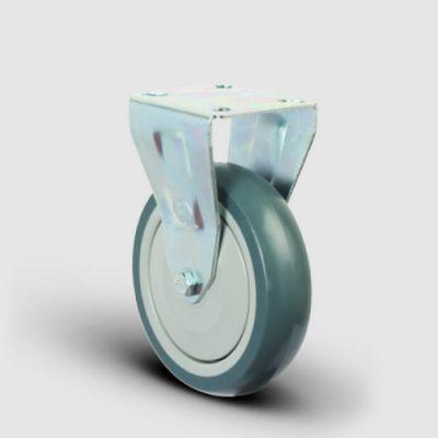 EMES - ER02MBT200 Sabit Maşalı Termoplastik Kauçuk Tekerlek Çap:200 Hafif Sanayi Tekerleği, Sabit Tabla Bağlantılı, Bilya Rulmanlı
