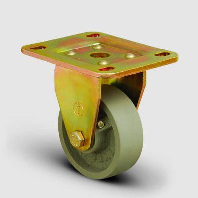 EMES - ED02VKV100 Sabit Maşalı Döküm Tekerlek Çap:100 Sanayi Tekerleği Ağır Sarı Maşa Sabit Tabla Bağlantılı Burçlu