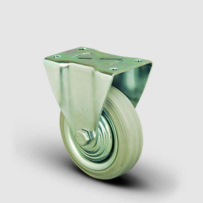 EMES - EK02SPRg150 Sabit Maşalı Gri Kauçuk Kaplı Tekerlek Çap:150 Orta Sanayi Tekerleği Sabit Tabla Bağlantılı Burçlu