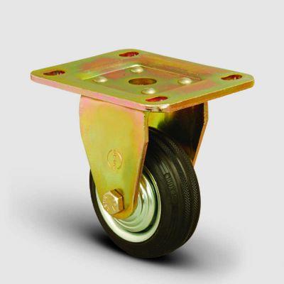 EMES - ED02SPR100 Sabit Maşalı Tablalı Kauçuk Kaplı Tekerlek Çap:100 Ağır Sanayi Tekerleği Sarı Maşa Sabit Tabla Bağlantılı Burçlu
