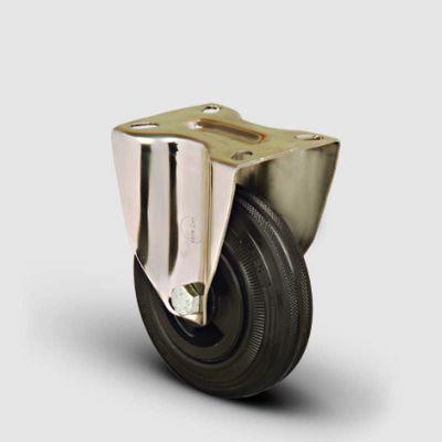 EMES - SSEM02MKR200 Paslanmaz Sabit Maşalı Kauçuk Tekerlek Çap:200 Inox Hafif Sanayi Tekerleği Burçlu Sabit Tabla Bağlantılı
