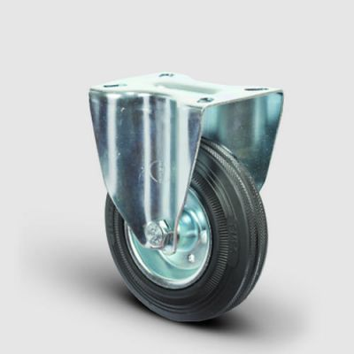 EMES - EM02SPR125 Sabit Maşalı Kauçuk Tekerlek Çapı:125 Hafif Sanayi Tekerleği, Sabit Tabla Bağlantılı, Burçlu