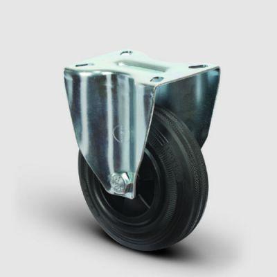 EMES - EM02MKR125 Sabit Plastik-Maşalı Kauçuk Tekerlek Çapı:125 Hafif Sanayi Tekerleği, Sabit Tabla Bağlantılı, Burçlu