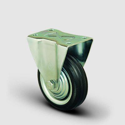 EMES - EK02SPR125 Sabit Maşalı Kauçuk Kaplı Tekerlek Çap:125 Orta Sanayi Tekerleği Sabit Tabla Bağlantılı Burçlu