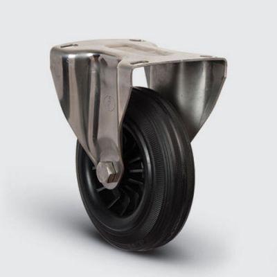 EMES - SSEZ02MKR125 Paslanmaz Sabit Maşalı Kauçuk Tekerlek Çap:125 Ağır Tip Inox Sanayi Tekerleği Sabit Tabla Bağlantılı Burçlu Poliproilen Üzeri Kauçuk Kaplı 125x40
