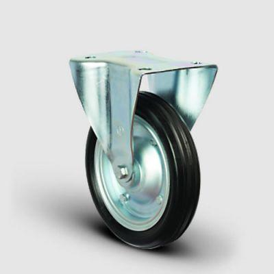 EMES - EG02SPR250 Sabit Maşalı Kauçuk Kaplı Tekerlek Çap:250 Sanayi Tekerleği Sabit Tabla Bağlantılı Burçlu