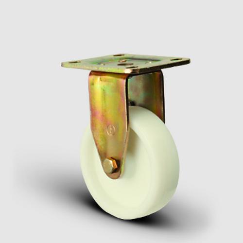 ED02HKZ55 Sabit Maşalı Poliamid Tekerlek Çap:55 Ağır Sanayi Tekerleği Sarı Maşalı Sabit Tabla Bağlantılı Burçlu
