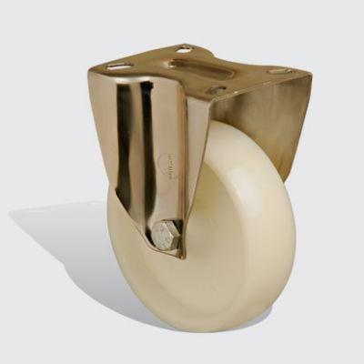 EMES - SSEM02ZKZ125 Paslanmaz Sabit Maşalı Poliamid Tekerlek Çap:125 Inox Hafif Sanayi Tekerleği Burçlu Sabit Tabla Bağlantılı