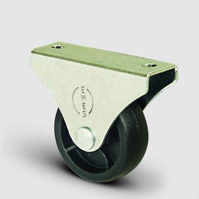EMES - EL02MKM28 Sabit Maşalı Plastik Mobilya Tekerleği Çap:28 Sabit Tabla Bağlantılı, Burçlu Sehpa Tekeri