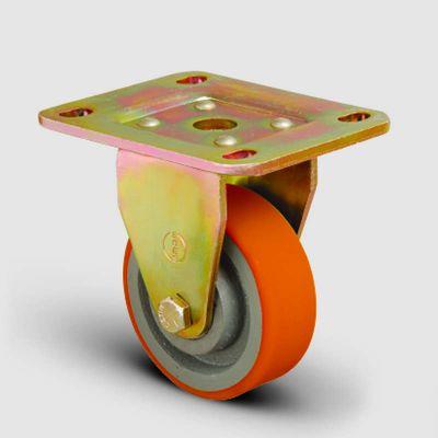 EMES - ED02VKP80 Sabit Maşalı Döküm Üzeri Poliüretan Kaplı Tekerlek Çap:80 Ağır Sanayi Tekerleği Sarı Maşa Sabit Tabla Bağlantılı Burçlu