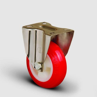 EMES - SSEM02ZKP200 Paslanmaz Sabit Maşalı Poliüretan Tekerlek Çap:200 Inox Hafif Sanayi Tekerleği Burçlu Sabit Tabla Bağlantılı Poliamid Üzeri Poliüretan Kaplı