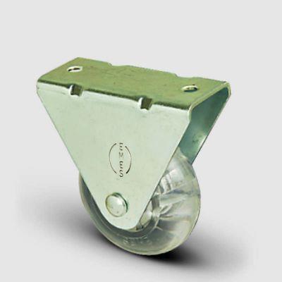 EMES - EP02DKP50 Sabit Maşalı Şeffaf Tekerlek Çap:50 Sanayi Tekerleği Burçlu Poliüretan Silikon Teker