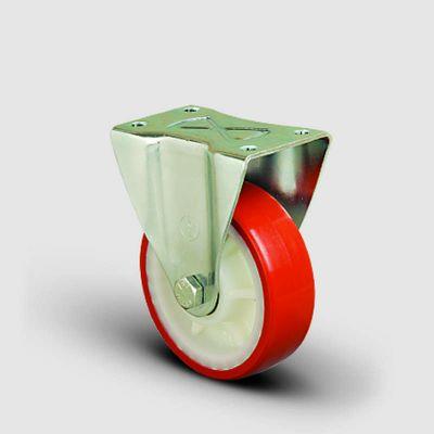 EMES - EK02ZKP100 Sabit Maşalı Poliüretan Kaplı Tekerlek Çap:100 Orta Sanayi Tekerleği Sabit Tabla Bağlantılı Burçlu