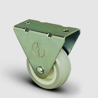 EMES - EP02ZKC50 Sabit Maşalı Poliamid Üzeri PVC Tekerlek Çap:50 Hafif Sanayi Tekerleği, Sabit Tabla Bağlantılı, Burçlu