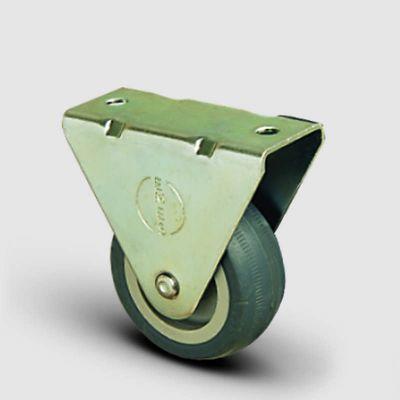 EMES - EP02MKT100 Sabit Maşalı Termoplastik Kauçuk Tekerlek Çap:100 Hafif Sanayi Tekerleği, Sabit Tabla Bağlantılı, Burçlu