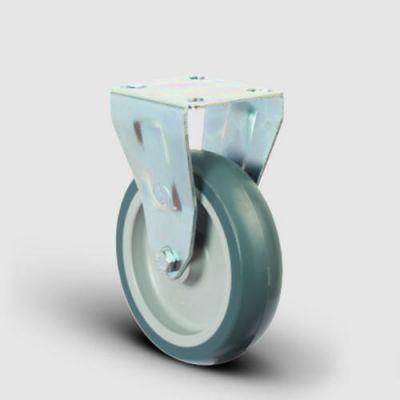 EMES - ER02MKT100 Sabit Maşalı Termoplastik Kauçuk Tekerlek Çap:100 Hafif Sanayi Tekerleği, Sabit Tabla Bağlantılı, Burçlu